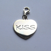 Sterling silver clip on kiss heart charm